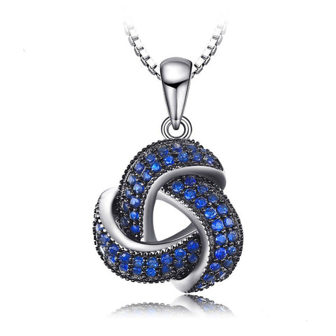 Blue Spinel Flower Wraparound Cluster Pendant Necklace - 925 Sterling Silver