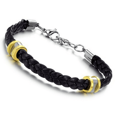 Amazing Stainless Steel Button Leather Bracelet Bangle - 60