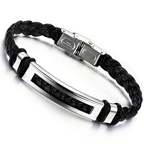 Stainless Steel Button, Leather Bracelet Bangle