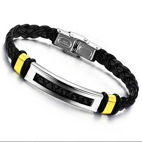 Stainless Steel Leather Bracelet Bangle - 65