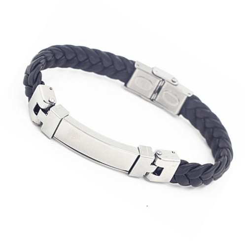 High Quality Stainless Steel Button, Leather Bracelet Bangle - 67