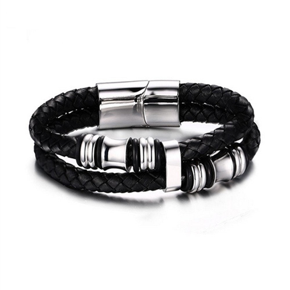 Stainless Steel Wristband Bangles for Men's Casual Style Wear, Black