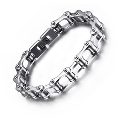 316L stainless steel cuff bangle silver bicycle chain