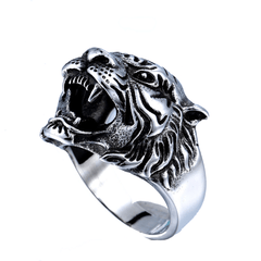 316L Stainless Steel Titanium Tiger Head Men Ring