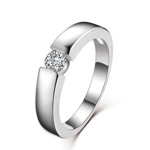 Classic Platinum Plated 18K White Gold Silver Ring
