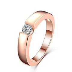 Classic Platinum Plated 18K Rose Gold Silver Ring