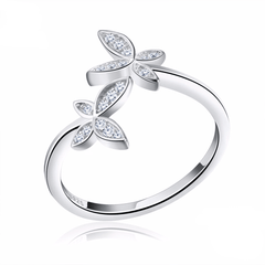 925 Sterling Silver Resizable Cubic Zirconia Flower Design Ring