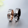 Stainless Steel Fashion Love Heart Couple Rings with CZ