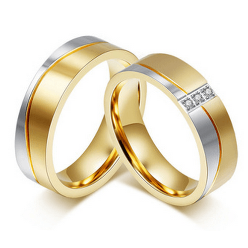 Engagement/Wedding Rings for Women / Men 18K Gold Plated Elegent Lovers Promise Jewelry