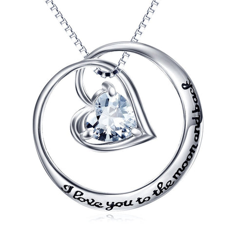925 Sterling Silver Circle Heart Moon and Back Necklace