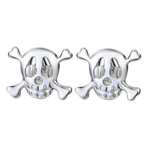 925 Sterling Silver Skeleton Stud Earrings