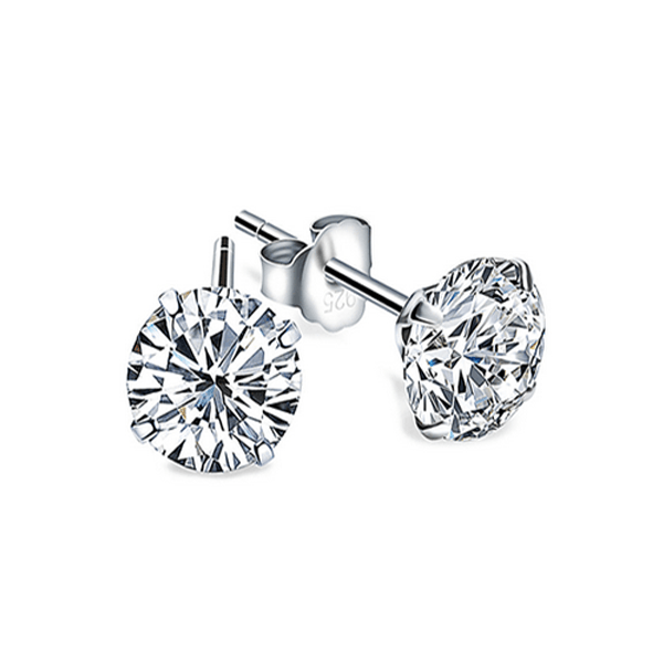 Genuine 925 Sterling Silver Cubic Zircon Stud Earrings