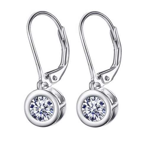 925 Sterling Silver Round White Cubic Zircon Drop Earrings