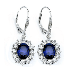 925 Sterlings Silver Sapphire Blue White Cubic Zircon Drop Earrings