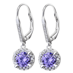 925 Sterling Silver Brincos Cubic Zircon Drop Earrings - Purple
