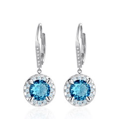 925 Sterling Silver Brincos Cubic Zircon Drop Earrings - Blue