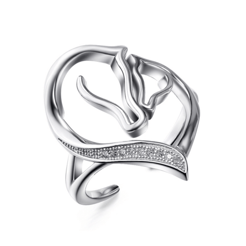 925 Sterling Silver Resizable Cubic Zirconia Heart Horse Ring