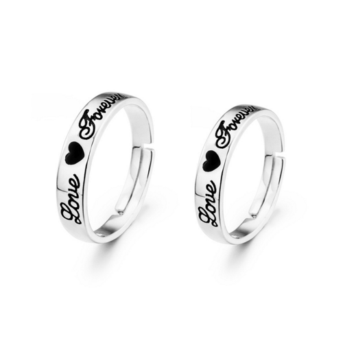 925 Sterling Silver Forever Love Couple Rings Adjustable Size