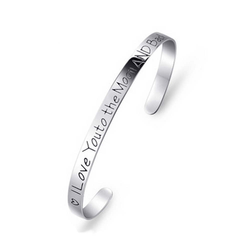 925 Sterling Silver Cuff Bracelet I Love You to the Moon and Back