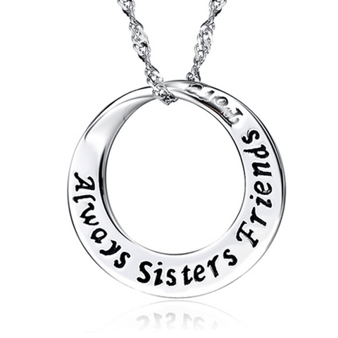 925 Sterling Silver Circle Pendant Necklace Always Sisters Forever Friends