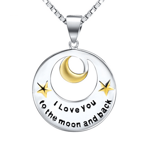 925 Sterling Silver I Love You to the Moon and Back Charm Necklace