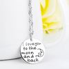 925 Sterling Silver Necklace I Love You to The Moon and Back Round Pendant Necklace