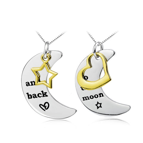 925 Sterling Silver Inspiration Message Necklace Moon and Back Set