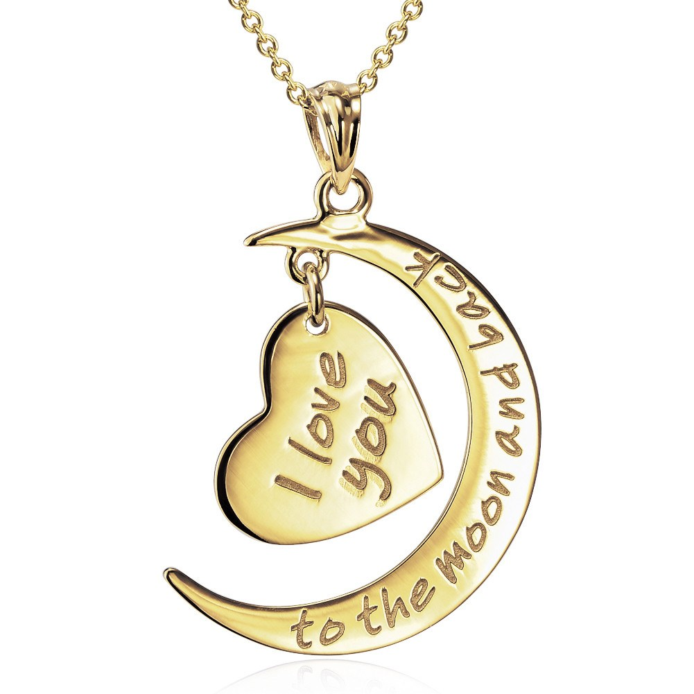 1 Gold 14K I Love You to The Moon and Back Pendant with 18K Gold Chain