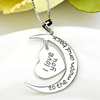7. I Love You to The Moon and Back Heart Necklace - 925 Sterling Silver