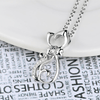 925 Sterling Silver CZ Crystal Cute Cat Charms Necklace