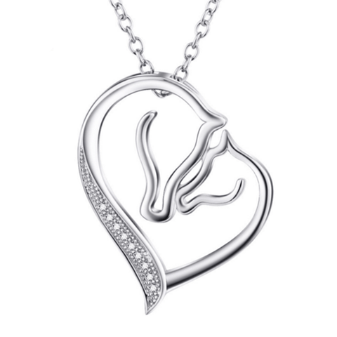 925 Sterling Silver CZ Fashion Jewelry Mother Child Horse Necklace