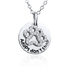 925 Sterling Silver Dog Paw Cubic Zircon Pendant Necklace