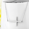 925 Sterling Silver Horizontal Sideways Cross Collar Necklace
