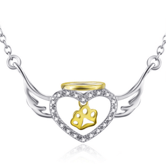925 Sterling Silver CZ Heart Angel Wings Gold Dog Paw Necklace