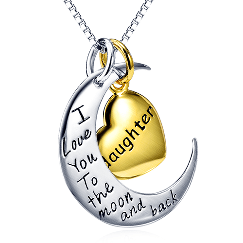 925 Sterling Silver I Love You to The Moon and Back Daughter Necklace