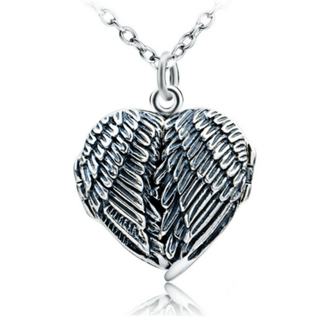 925 Sterling Silver Angel Wings Locket Pendant Necklace