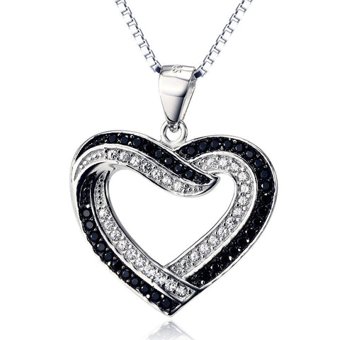 925 Sterling Silver Heart Necklace Black White Cubic Zirconia