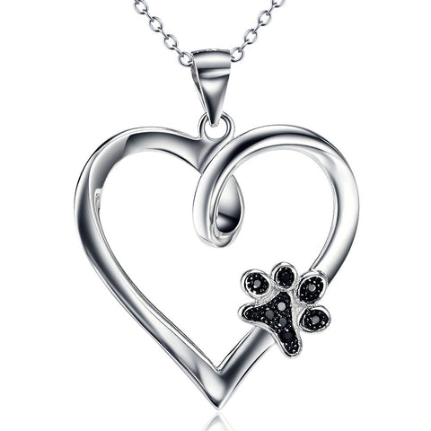 Heart & Dog Paw 925 Sterling Silver Necklace