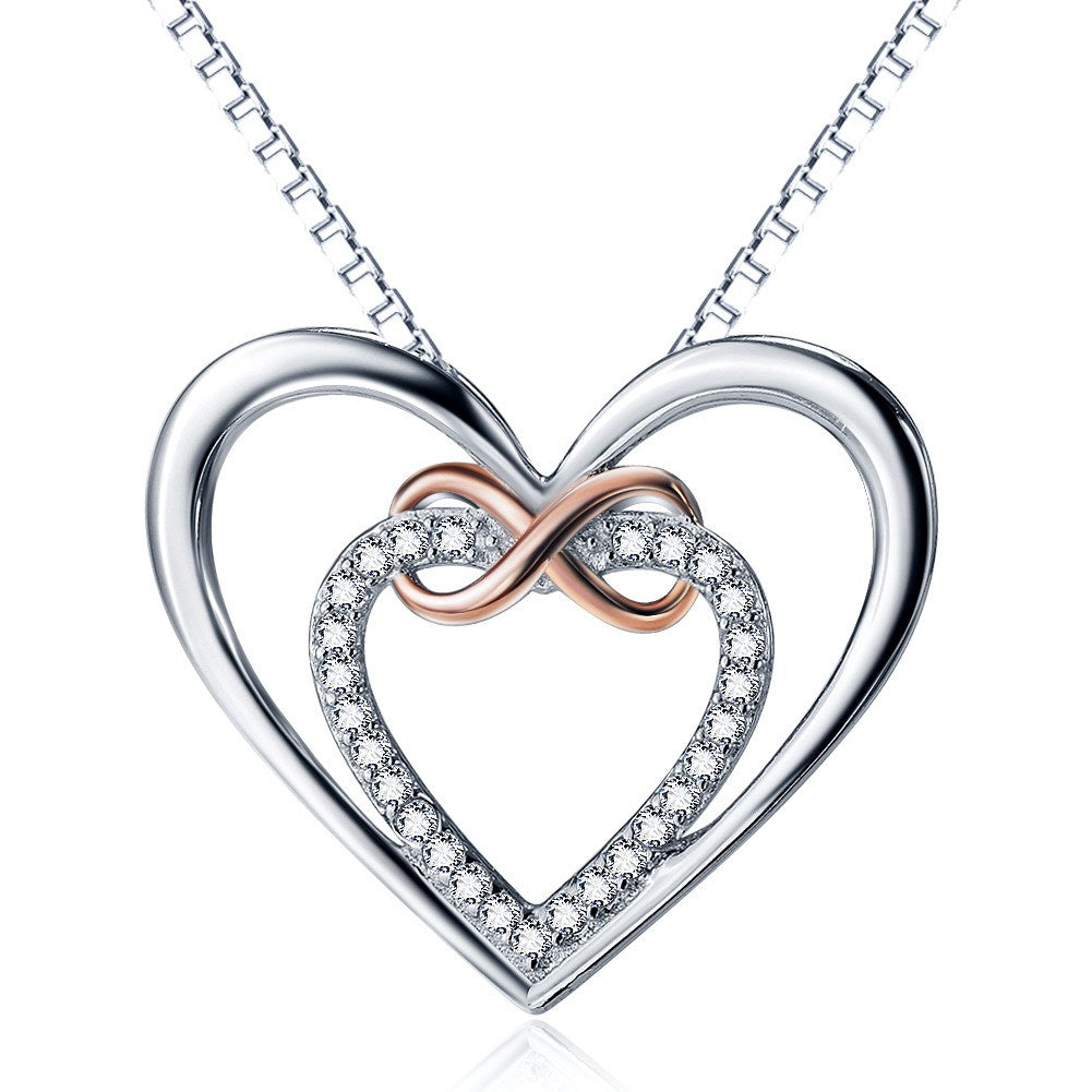 925 Sterling Silver - Heart & Infinity Two Tones Necklace