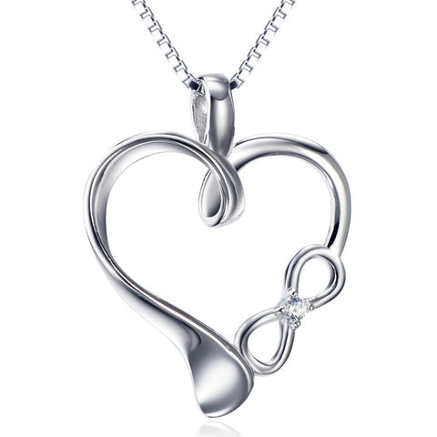 925 Sterling Silver Heart & Infinity Necklace