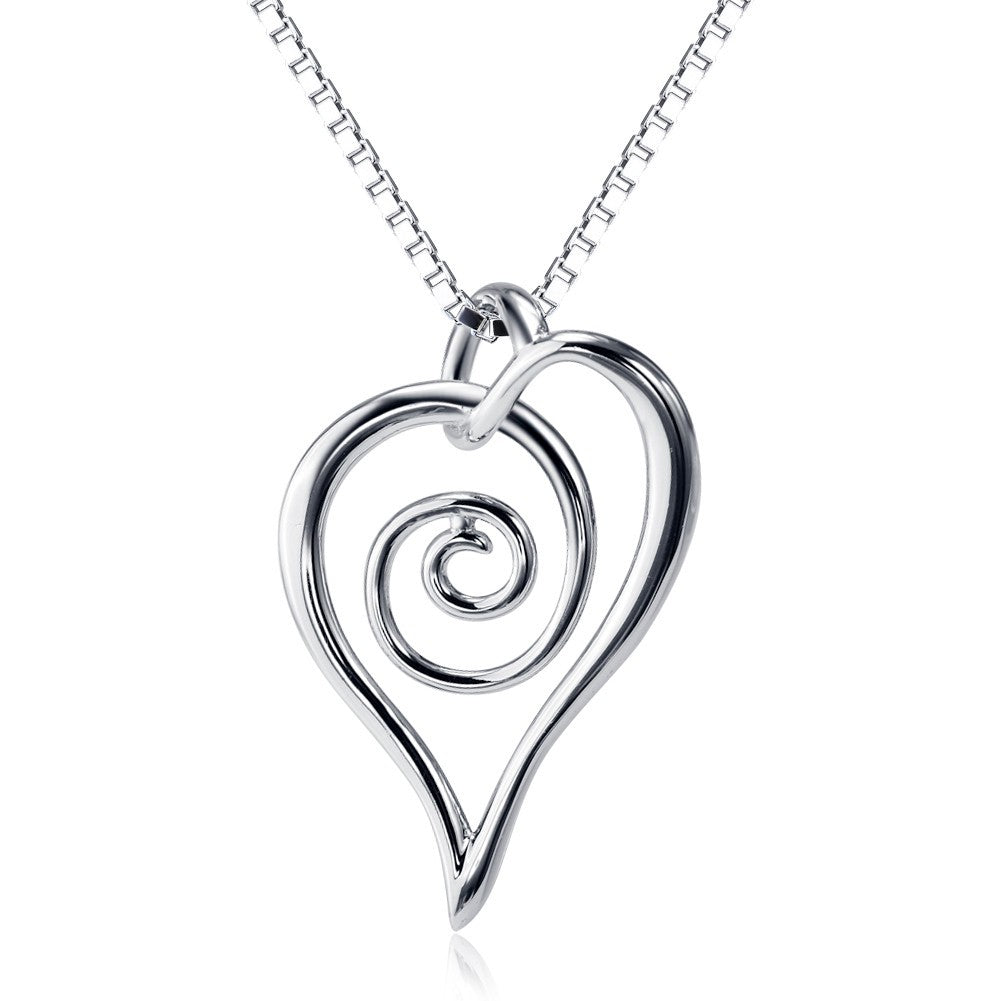 925 Sterling Silver Spiral Heart necklace