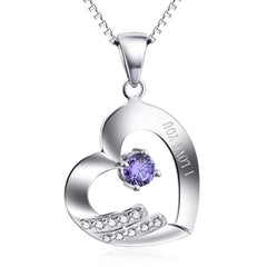 925 Sterling Silver Heart Necklace - I Love You
