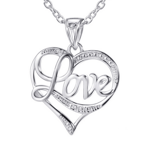 925 Sterling Silver Cubic Zircon CZ  LOVE Collar Heart Necklace