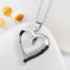 925 Sterling Silver Black and White Cubic Zircon Heart Necklace