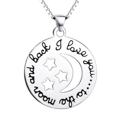 925 Sterling Silver Moon and Star Jewelry Love Necklace
