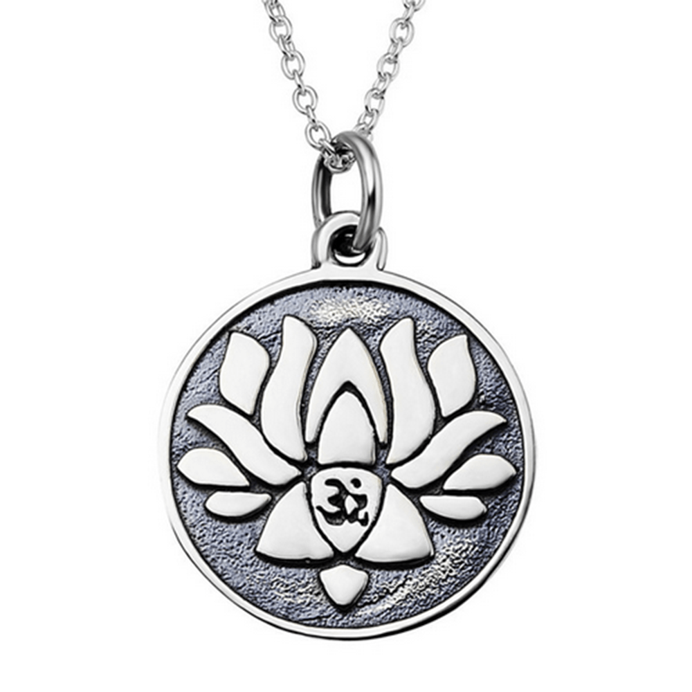 925 Sterling Silver Antique Double Sides Lotus Flower Pendant Necklace