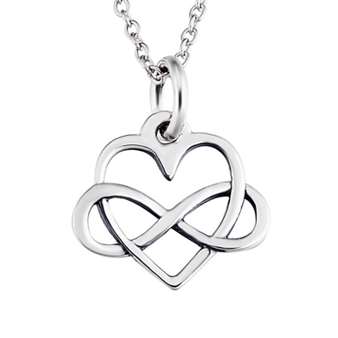 925 Sterling Silver Infinity Heart Necklace
