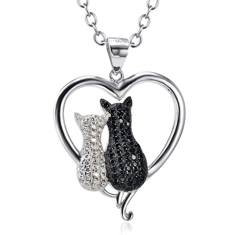 Heart & Cat Duo 925 Sterling Silver