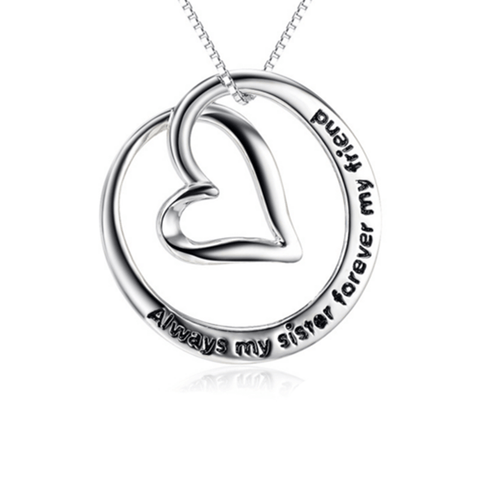 925 Sterling Silver Always Sisters Forever Friends Heart Necklace