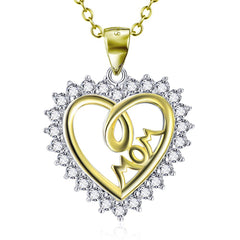 6. Golden Mom Heart - 925 Sterling Silver Necklace